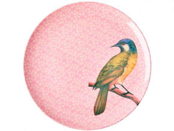 RICE Großer Melaminteller VINTAGE BIRD rosa