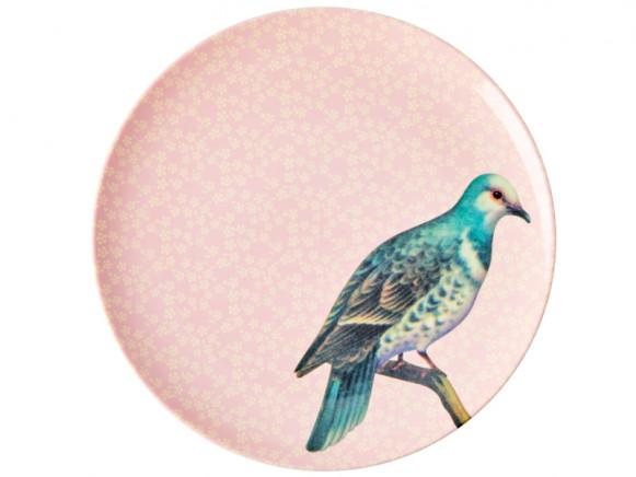 RICE Melaminteller VINTAGE BIRD hellrosa