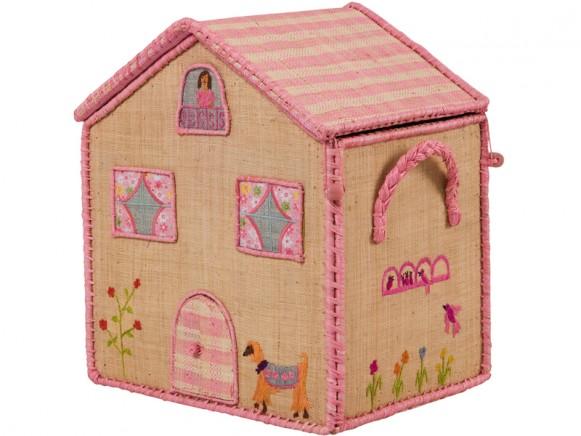 Kleiner Spielzeugkorb in Hochhausform von RICE Dänemark