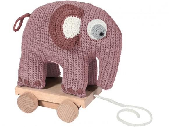 Sebra Nachzieh-Elefant altrosa