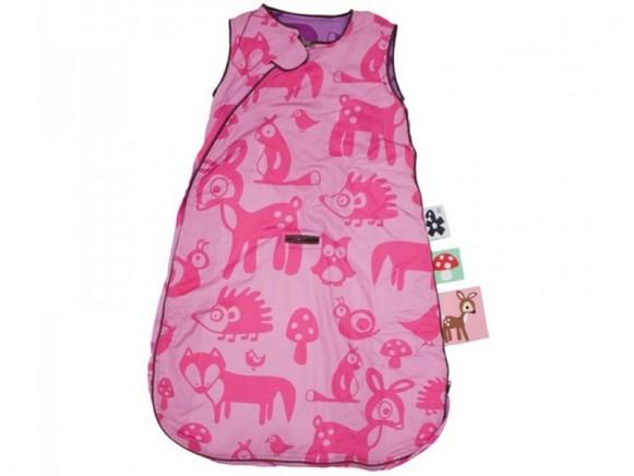 Sebra Schlafsack mit Waldtieren in rosa