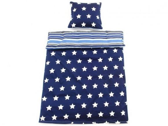 Smallstuff Bettwäsche Sterne Streifen Blau Takatomode