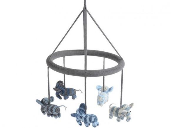 Smallstuff Häkel Mobile Elefanten blau