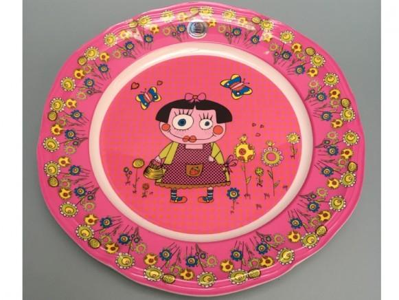 Supersoso Teller groß BRAUNHAARIGES MÄDCHEN pink