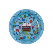 8 kleine Geburtstags-Pappteller in türkis von RICE Dänemark