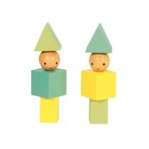 A Little Lovely Company Holzklötze Little People gelb - grün