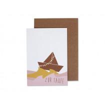 Ava & Yves Grußkarte ZUR TAUFE Schiff rosa