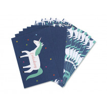 Ava & Yves Einladungskarten Set EINHORN blau