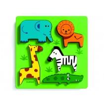 Djeco Holzsteckpuzzle mit wilden Tieren