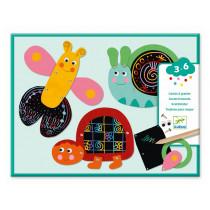Djeco 3-6 Design 4 Kratzbilder LUSTIGE TIERE