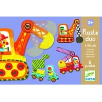 Djeco Duo Puzzle bewegliche Fahrzeuge