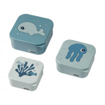 Done by Deer Snackbox Set SEA FRIENDS blau