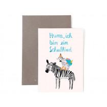 Frau Ottilie Grußkarte zur Einschulung SCHULKIND Zebra & Affe