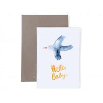 Frau Ottilie Grußkarte zur Geburt HELLO BABY Vogel