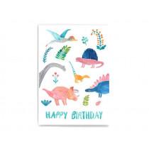 Frau Ottilie Postkarte HAPPY BIRTHDAY Dino