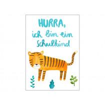 Frau Ottilie Postkarte SCHULKIND Tiger