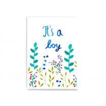 Frau Ottilie Postkarte zur Geburt IT'S A BOY
