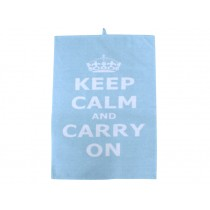 Krasilnikoff Geschirrtuch Keep calm blau