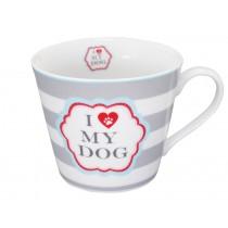 Krasilnikoff Happy Cup I love my dog streifen