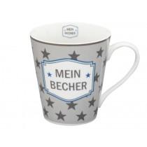 Krasilnikoff Happy Mug Henkelbecher Mein Becher grau