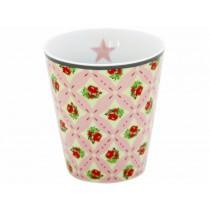 Krasilnikoff Becher Happy Mug rosa Karos Blumen