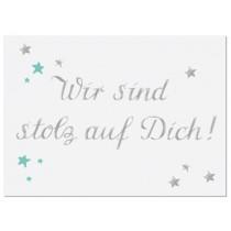krima & isa Postkarte Wir sind stolz auf Dich!