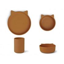LIEWOOD Silikon Geschirr-Set CYRUS Katze senfgelb