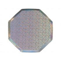 Meri Meri 8 Kleine Pappteller SPARKLE silber