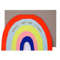 Meri Meri Grußkarte REGENBOGEN Happy Birthday neon