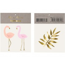 Meri Meri Tattoos FLAMINGOS neon & gold