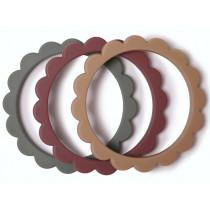 Mushie 3 Beißring Armbänder BLUMEN Dried Thyme/Berry/Natural
