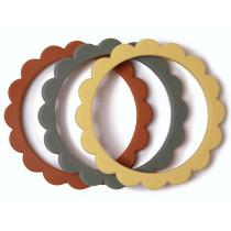 Mushie 3 Beißring Armbänder BLUMEN Sunshine/Dried Thyme/Clay