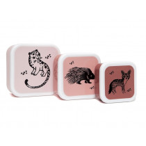 Petit Monkey Lunchbox Set BLACK ANIMALS rosa
