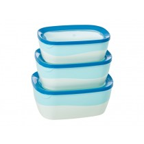 RICE Frischhaltedosen Set zweifarbig blau/weiß