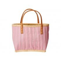 RICE Einkaufstasche für Kinder in rosa mit Ledergriffen