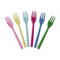RICE 6 Kuchengabeln CLASSIC Farben