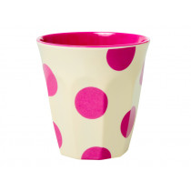 RICE Becher CREME With Fuchsia Dots