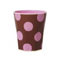 RICE Melamin Becher Braun mit Soft Pink DOTS Large