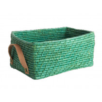 RICE Korb Ledergriffe rechteckig GREEN