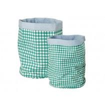 RICE Aufbewahrungskorb-Set für Kinder mit grünem Karomuster