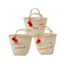 RICE Strandtasche Pompoms