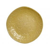RICE Handgefertigter Keramikteller limettengrün