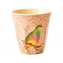 RICE Melaminbecher VINTAGE BIRD nougat
