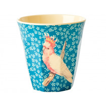 RICE Melaminbecher VINTAGE BIRD blau