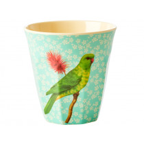 RICE Melaminbecher VINTAGE BIRD mint