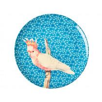 RICE Melaminteller VINTAGE BIRD blau