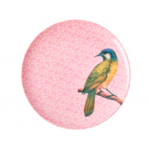 RICE Melaminteller VINTAGE BIRD rosa