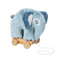 Sebra Plüsch Nachzieh-Elefant wolkenblau