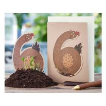 DieStadtgärtner Geburtstagskarte mit Saatstecker HUHN 6