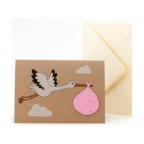 DieStadtgärtner Grußkarte mit Saatpapier STORCH rosa